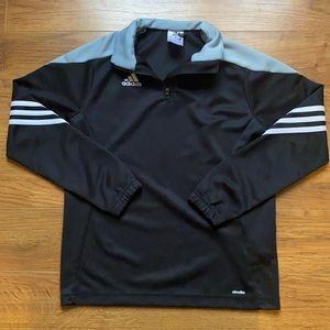 Adidas medium black and white striped long sleeve 3/4 zip pullover sweater shirt